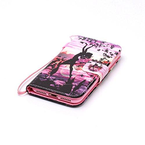 SainCat iPhone 7 Custodia in Pelle,Cover iPhone 7 Anti-Scratch Protettiva Caso Custodia Per iPhone 7, Elegante Creativa Dipinto Pattern Design PU Leather Flip Ultra Slim Sottile Morbida Portafoglio Cu