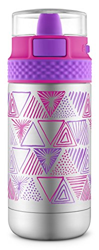 Ello Ride Vacuum Insulated Stainless Steel Water Bottle with One-Touch Push Button, 14 oz, Pink/Purple