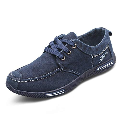Corriee Mens Classic Denim Canvas Shoes Men's Fashion Leisure Round Toe Lace-Up Low-Top ()