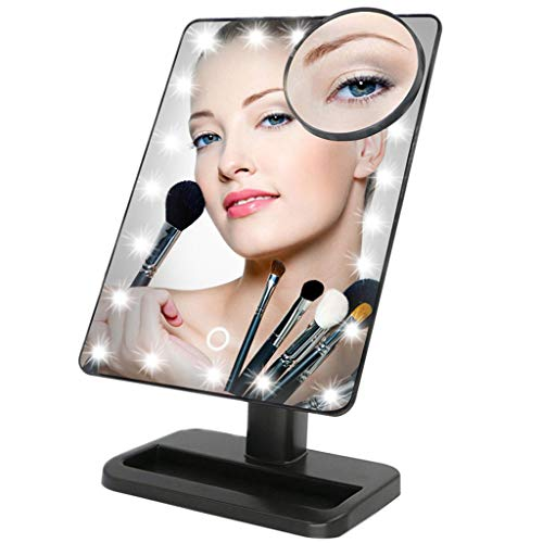 TVictory 20 LED Lighted Makeup Mirror with Removeable 10 x Magnified Mirror, Touch Dimmable with Memory for Tabletop, Bathroom, Bedroom, Shaving, Dressing(Black)