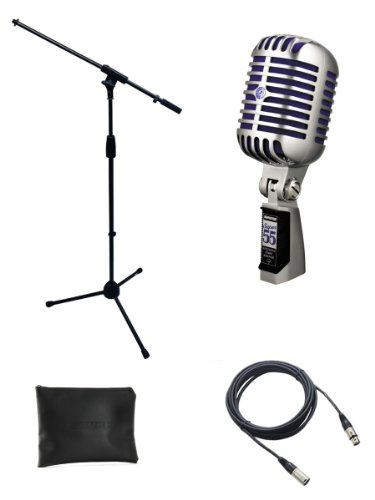 Deluxe Package Mic (Shure Super 55 Microphone Bundle with Mic Boom Stand and XLR Cable)