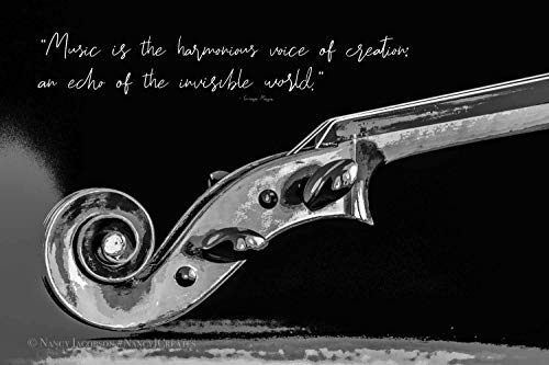 (Violin Art Unframed Musical Instrument Photography Inspirational Music Quote Gift for Musician Contemporary Wall Art Black and White Home Decor 5x7 8x10 8x12 11x14 12x18 16x20 16x24 20x30 24x36)