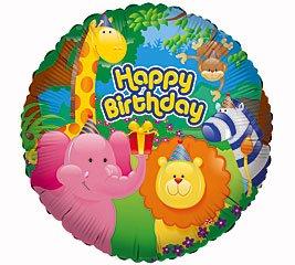 "Cute Jungle Animals Happy Birthday 18"" Mylar Balloon"