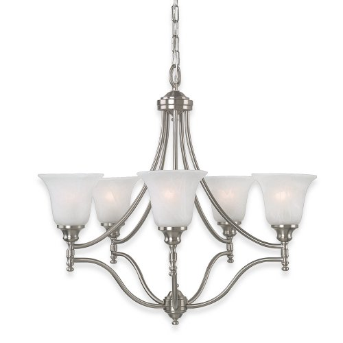 (Royce Lighting RC70UPES/5-12 Prescott Five-Light Chandelier Brushed Steel with White Alabaster Globes)