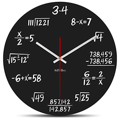 StFlyBro Math Wall Clock Silent - Can You Calculate The Mathematical Formula?