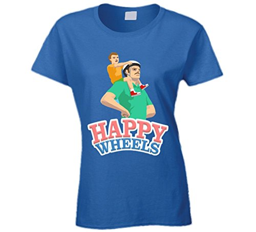 Happy Wheels T Shirt Ladies Funny T-Shirt Cute Fun Novelty Game App Shirt New 2XL Royal Blue