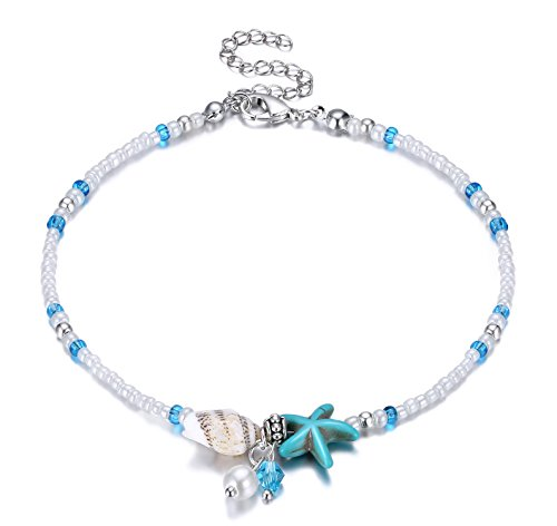 (Fesciory Women Starfish Turtle Anklet Multilayer Adjustable Beach Alloy Ankle Foot Chain Bracelet Boho Beads Jewelry(Shell Pearl) )