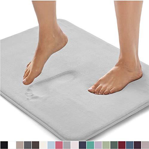 Gorilla Grip Original Thick Memory Foam Bath Rug, 30x20, Cushioned, Soft Floor Mats, Absorbent Premium Bathroom Mat Rugs, Machine Washable, Luxury Plush Comfortable Carpet for Bath Room, Light Gray