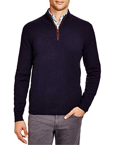 Bloomingdale's Mens 2-Ply Cashmere Half Zip Mock Neck Sweater Large L True Navy