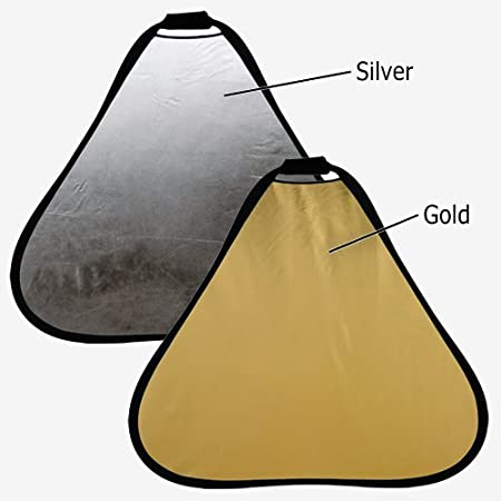 120cm Silver//Gold 2-in-1 Collapsible Teardrop Reflector Disc Fotodiox 48in