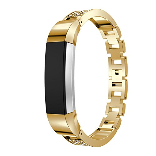 Hot Sale!! WILLTOO ❤ ❤ Metal Watch Bands with Rhinestone for Fitbit Alta Smart Watch - Solid Watch Mens Geneve Gold