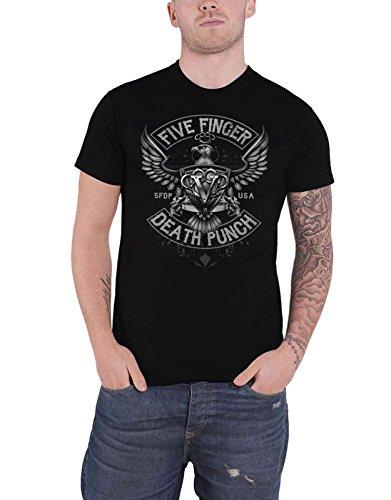 Five Finger Death Punch T Shirt Howe Eagle Crest Logo Official Mens Black Size L