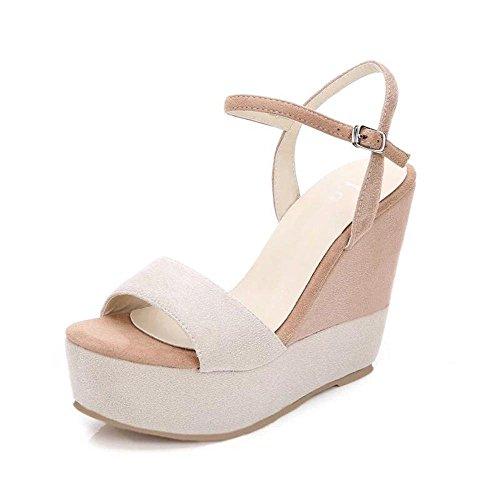 GJDE Sandalias de las Señoras Calzan los Zapatos Ocasionales del Alto talón de las del Verano c