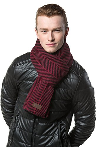 Gallery Seven Winter Scarf for Men, Soft Knit Scarve, in an Elegant Gift Box - Black/Red