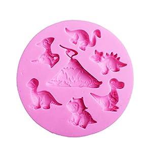 Hosaire - Stampo da pasticceria, pratico, in silicone, per gelato, fondente, 3D, serie di dinosauri, grazioso, bricolage… 8 spesavip