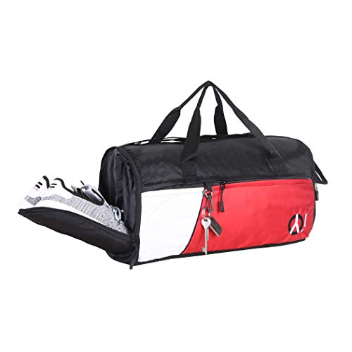 YOI Large Duffle Gym Bag for Mens Travel Sports Duffle Bag 35 LTR with Additional Shoe Compartment (Black White)