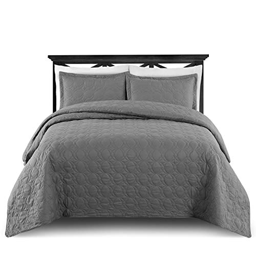 M Fabulous Oversize Light Weight Stitched Bedspread Coverlet Set, 1 Quilt and 2 Pillow Shams, Dark Gray, Fits King or Cal King Mattress