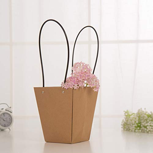 NszzJixo9 5pcs Paper Flower Bag - Wreaths Flower Box Packaging Decorative Flower Handbag for Wedding, Birthday, Baby Shower, Party Favors, Flower Bouquet Wrapping (D)