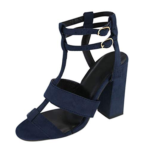 (BEAUTYVAN Women's Chunky Heel Cutout Bootie -Comfy Slingback Open Toe Sandals (Size 37=US:6.5, Navy Blue) )