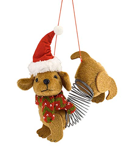 l Slinky Dog Dachshund Natural Brown 6 inch Fabric Christmas Figurine Ornament ()
