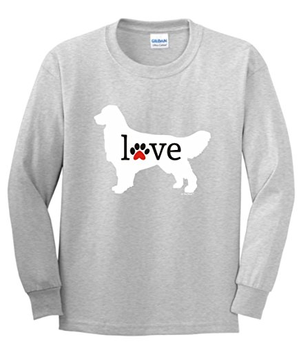 Dog Mom Gifts Golden Retriever Love Dog Paw Prints Youth Long Sleeve T-Shirt XL SpGry