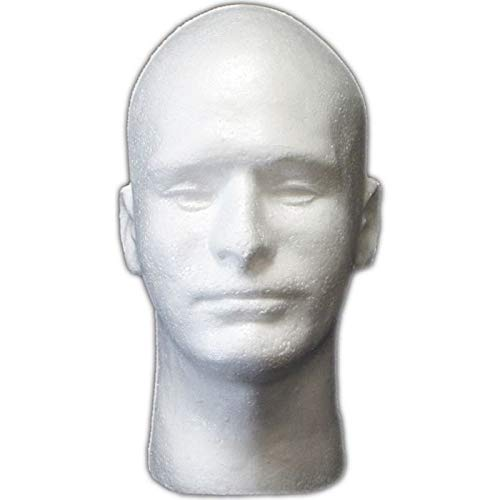 (DisplayImporter Male Styrofoam Head with Face,)