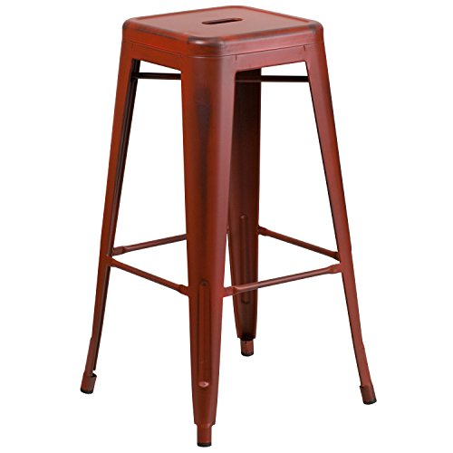 30'' High Backless Distressed Kelly Red Metal Indoor-Outdoor