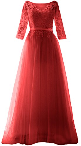 MACloth Women Half Sleeve Lace Tulle Maxi Prom Dress Evening Formal Gown (22w, Red)