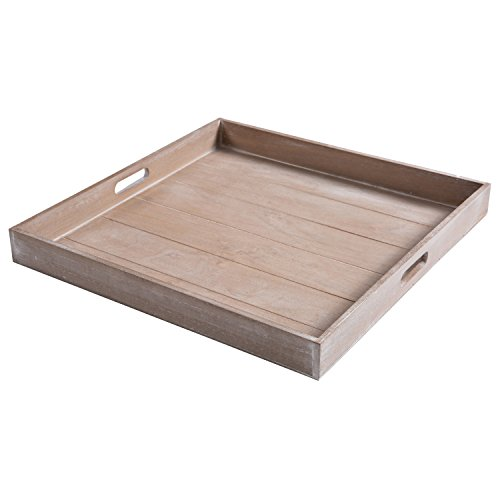 MyGift Large Shabby Chic Square Wood Serving Tray for Breakfast in Bed, Tea, Coffee - 19 x 19 - Frame Wood Ottoman Storage