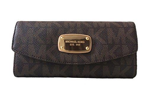 Michael Kors Signature PVC Slim Flap Wallet in Brown