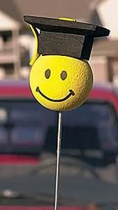 Graduation Smiley Face Car Antenna Topper