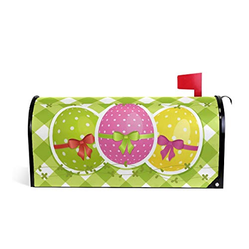 Magnetic Mailbox Cover Easter Eggs On Green Gingham Border Mail Wraps Cover Letter Post Box 20.8