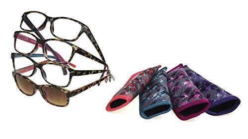 Foster Grant Women's Sofia Multipack Reading Glasses and  SunReaders, Rectangular, 53MM, 4- Pack