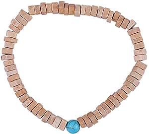 Il Signor Mens Wooden Beads Wood Square Bracelet, 17 cm