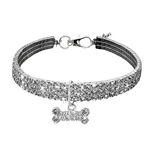 Hisoul Pet Necklace, Adjustable 3 Rows Rhinestone Clasp Charm Collar Fancy Dog Necklace for Dog and Cat - Prevent Lost (Silver, L-Size:30+5cm)