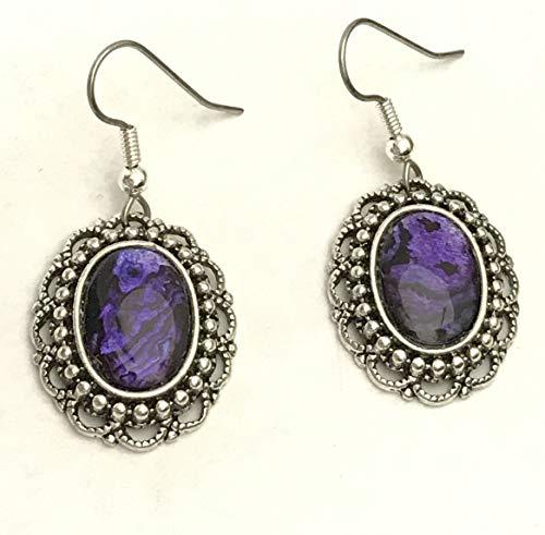 (Purple Paua Shell Earrings- Surgical Steel Wire)