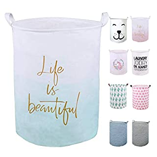 """SEAFOWL 19.7"""" Collapsible Laundry Basket,Waterproof Round Canvas Large Clothes Basket Laundry Hamper with Handles, Cute Cartoon Kids Nursery Laundry Basket,Baby Gift. (Life Green)"""