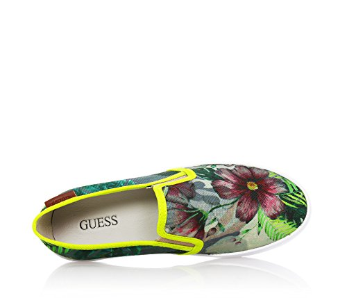 GUESS - Chaussure sans lacets verte en tissu, imprimé à fleurs sur la chaussure entière,fille,filles,enfant,femme