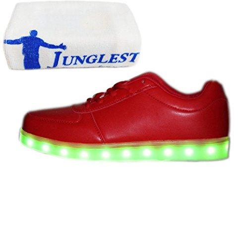 [Present:kleines Handtuch]JUNGLEST® (TM) 7 Farbe USB Aufladen LED Leuchtend Sport Schuhe Sportschuhe Sneaker Turnschuhe für Unise Rot