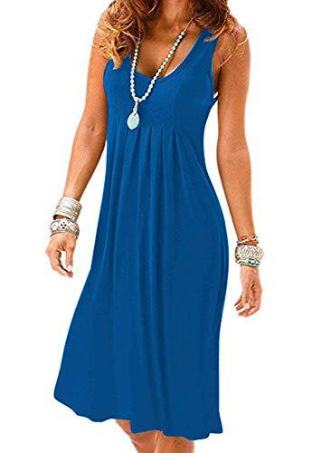 Dress Mini Cut - MIDOSOO Womens Casual Low Cut Mini Tank Dress/Vest Royal Blue XL