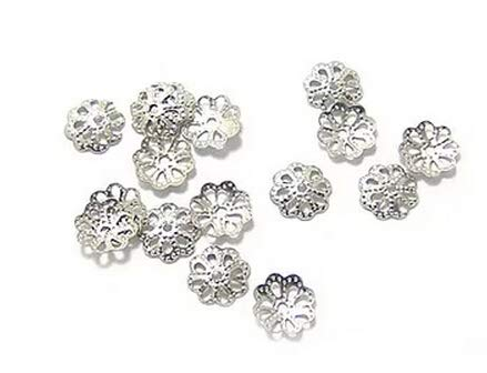 Silver Plated Bead Caps - Silver Plated Brass Small Filigree Flower Bead Caps Spacers for Jewelry Making (6mm)