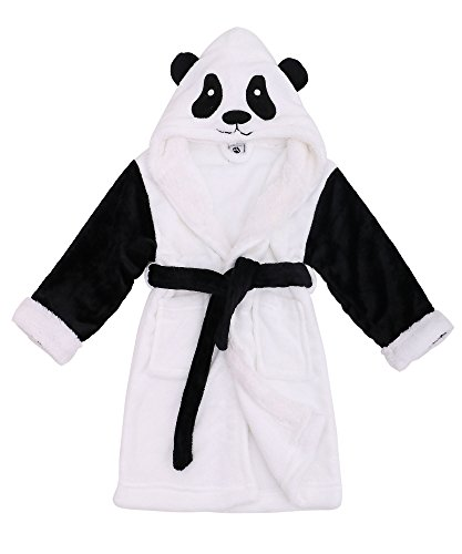 Kids Robe Zoo Crew Fuzzy Sherpa Lined Hooded Animal Bathrobe,Panda,L(7-10 Year