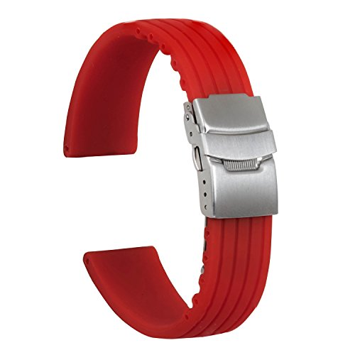 Red Stripes Watch - Ullchro Silicone Watch Strap Replacement Rubber Watch Band Waterproof Stripe Pattern - 16mm, 18mm, 20mm, 22mm, 24mm Watch Bracelet with Stainless Steel Deployment Buckle (20mm, Red)
