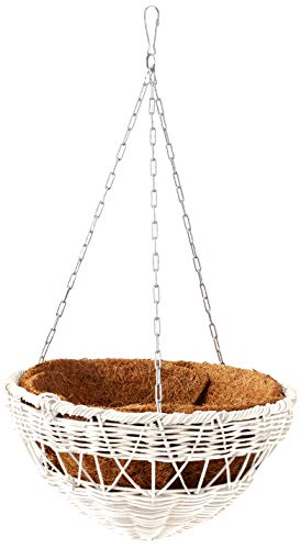 DMC Products 13-Inch Resin Wicker Hanging Basket with Chain Hanger, White