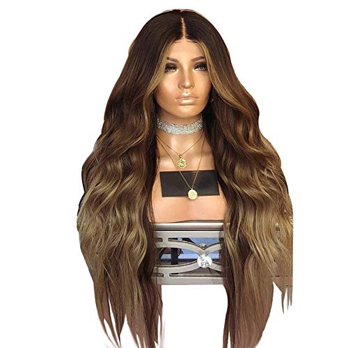 LIUWEININLE Wigs for Women - 180% Density Long Full Natural Loose Curly Wave Synthetic 3 Tone Dart Root Highlights Omber Party Wigs for Ladies Daily Use UK Natural Looking -
