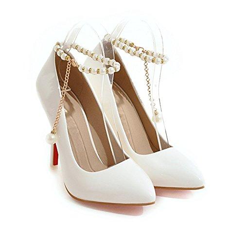 55eb9280 Delicado Tacones Altos De La Mujer PU Cadena Moda Sexy Boca Poco Profunda  Puntiagudo Tacones De Dama De Honor Calzado De Boda Zapatos De Novia Bombas  Tacón ...