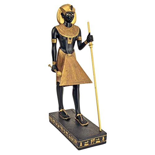 Design Toscano King Tut Tutankhamen Pharaoh of the Egyptian Realm Figurine Statue, 8 Inch, Polyresin, Black and