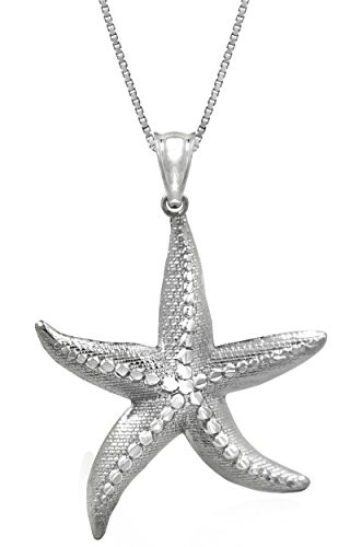Sterling Textured Starfish Necklace Pendant