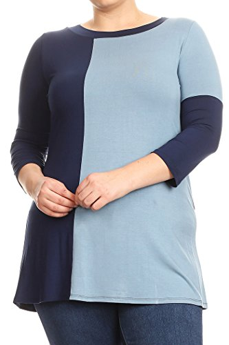 Baby Doll Kimono Top (Fashion Stream Women's Plus Size Casual 3/4 Sleeve Color Block Blouse T Shirt Tunic Top Tee (Blue, 3XL))
