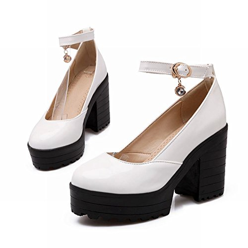 Latasa Womens Fashion Ankle-strap Block High Heel Platform Shoes, Pumps White